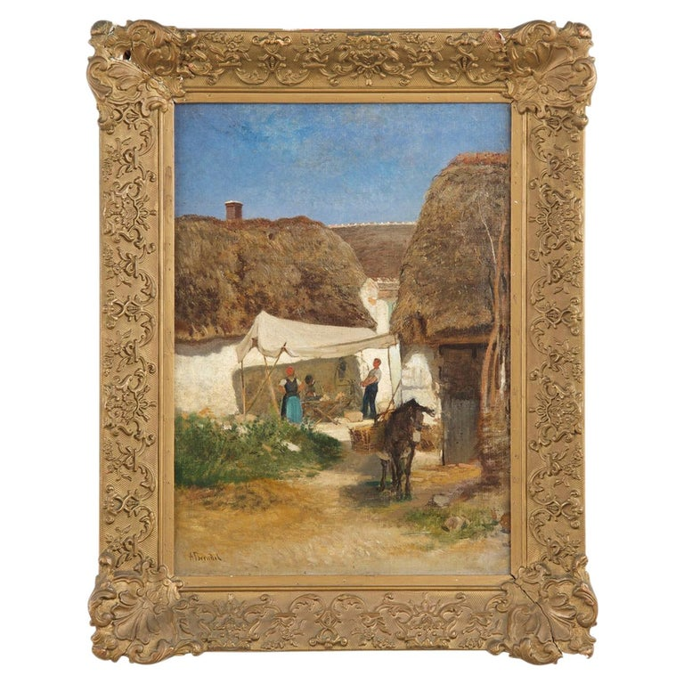 Authentic Albert Brendel Antique Oil Painting of Village & Donkey, 19th Century For Sale