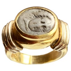 Authentic Ancient Greece Coin '4th Century B.C. 18 Kt Gold Ring Depicting Helios