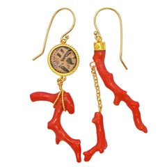 Authentic Ancient Hellenistic Coin and Branch Coral Asymmetrical Dangle Earrings