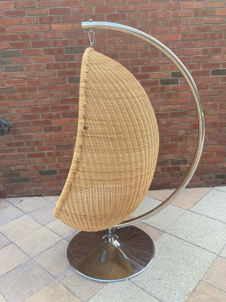 """Truly iconic egg-shaped hanging woven cane or natural rattan wicker chair by Danish groundbreaking designer Nanna Ditzel (1923-2005) for Bonacina Pierantonio, Italy.  Ditzel design the """"Hanging Egg Chair"""" is a critically acclaimed design that has"""