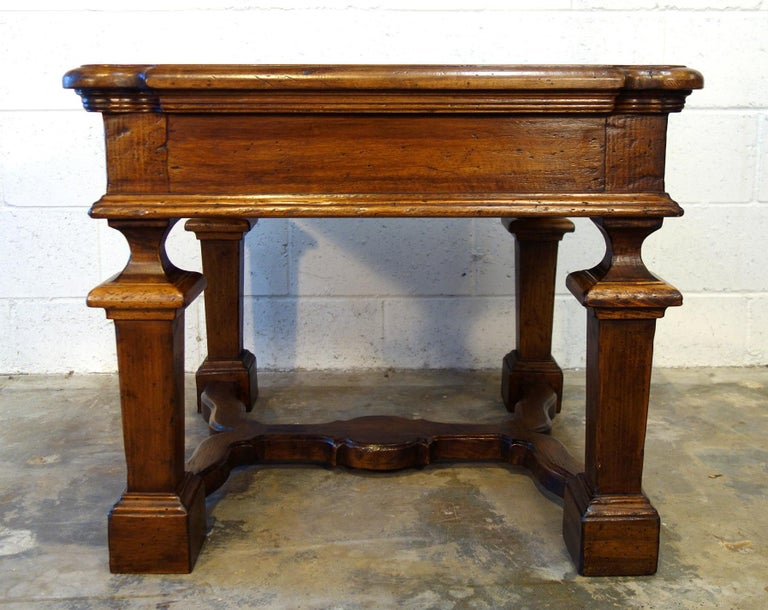 Hand-Crafted 19th Century Mediterranean Style Italian Handcrafted Old Walnut Table Line  For Sale