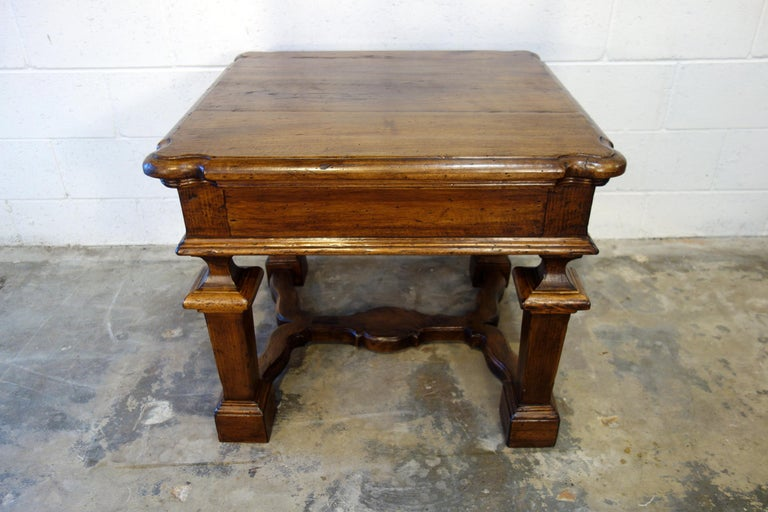 19th Century Mediterranean Style Italian Handcrafted Old Walnut Table Line  In Excellent Condition For Sale In Encinitas, CA