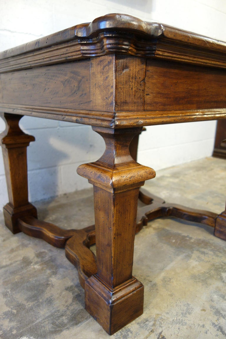 Contemporary 19th Century Mediterranean Style Italian Handcrafted Old Walnut Table Line  For Sale