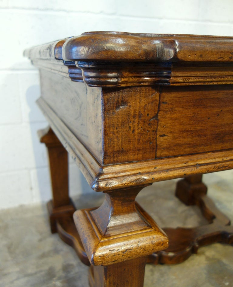 19th Century Mediterranean Style Italian Handcrafted Old Walnut Table Line  For Sale 1