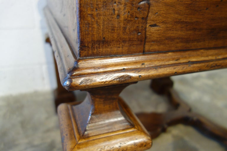 19th Century Mediterranean Style Italian Handcrafted Old Walnut Table Line  For Sale 2