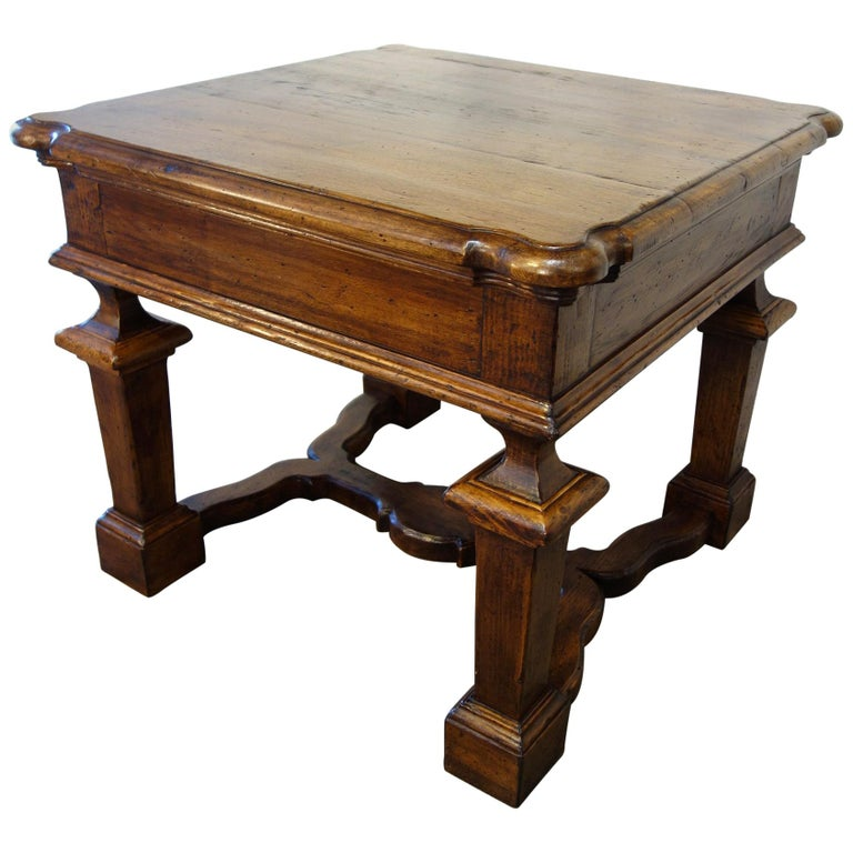 19th Century Mediterranean Style Italian Handcrafted Old Walnut Table Line  For Sale