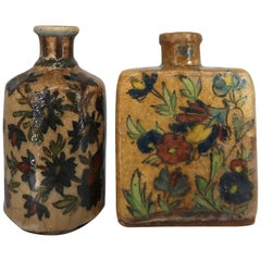Authentic Antique Persian Qajar Rustic Pottery Tea Flasks, Late 19th Century