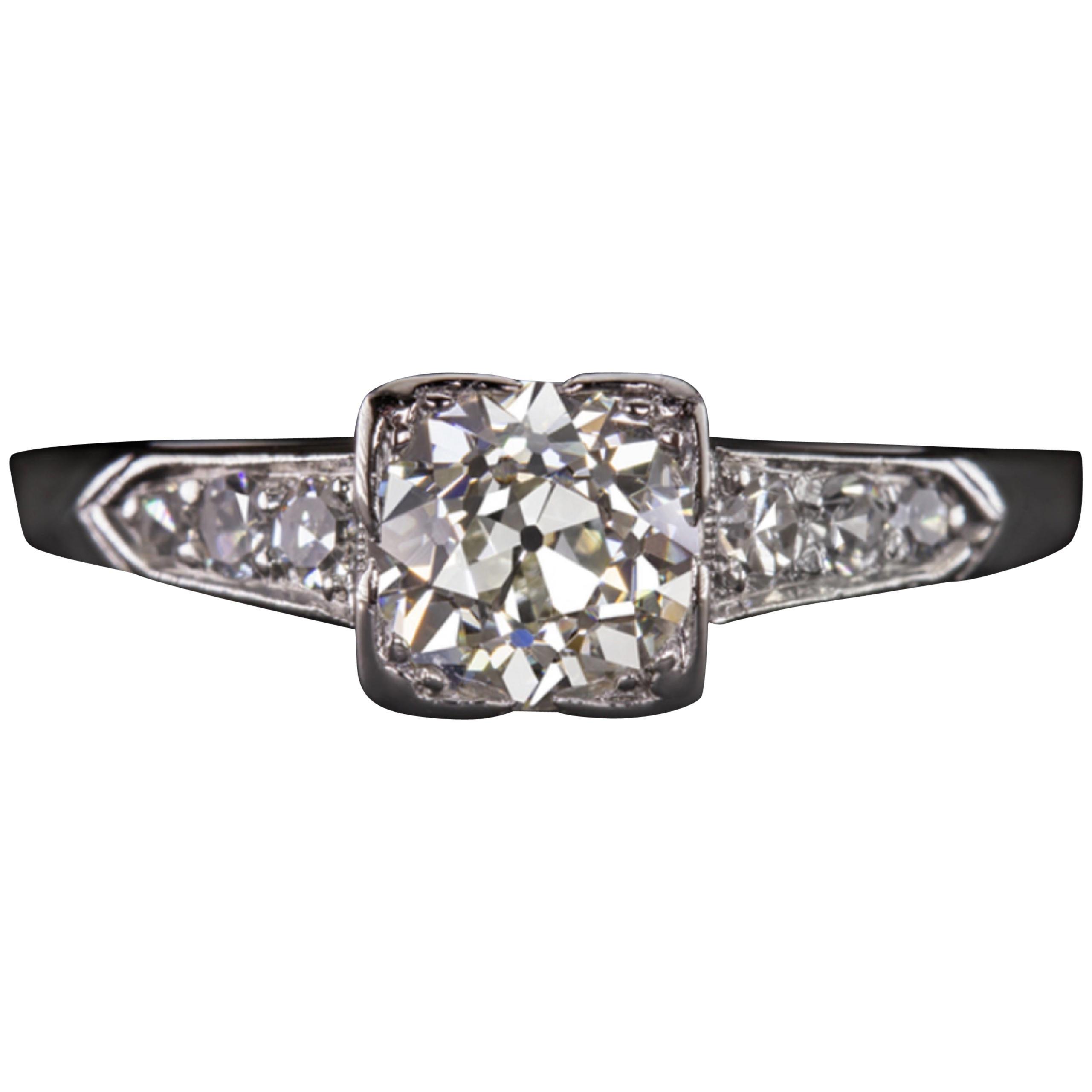 Art Deco 1930s 1.05 Carat Old Cut Diamond Platinum Ring