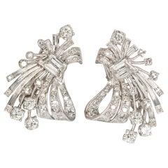 Retro 4.20 Carat Platinum White Diamond Earrings F/H VS Clarity