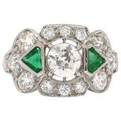 Authentic Art Deco Diamond and Emerald 3 Stone Engagement Ring 1 Carat Antique