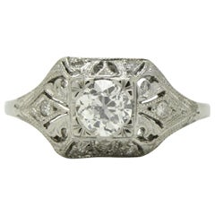 Authentic Art Deco Filigree Diamond Engagement Ring GIA Certified Half Carat Old