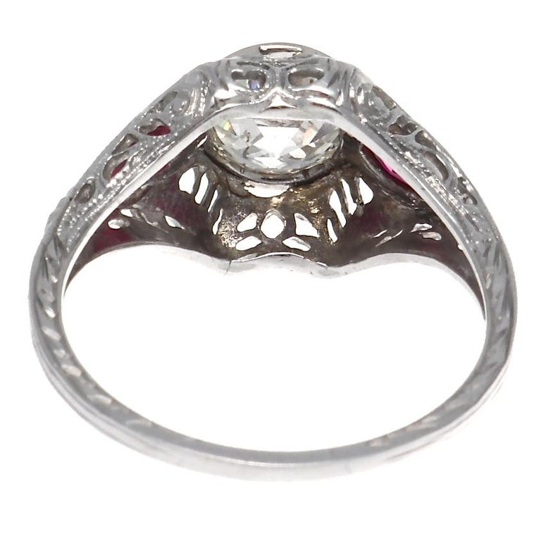 Women's Authentic Art Deco GIA Certified 1 Carat Old European Cut Diamond Ruby Ring For Sale