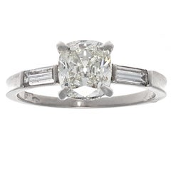 Authentic Art Deco GIA Certified 1+ Carat Old Mine Cut Diamond Platinum Ring