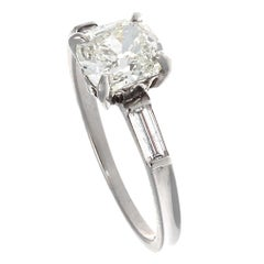 Authentic Art Deco GIA Certified 1+ Carat Old Mine Cut Diamond Platinum Ring