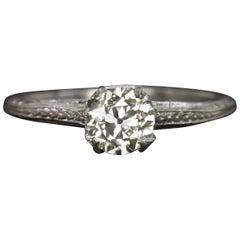 Authentic Art Deco Old European Diamond Platinum Solitaire Ring