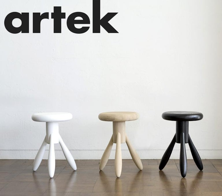 Authentic Baby Rocket Stool in Oak with White Lacquer by Eero Aarino & Artek 3