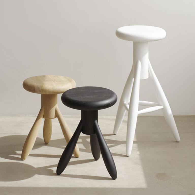 Finnish Authentic Baby Rocket Stool in Oak with White Lacquer by Eero Aarino & Artek