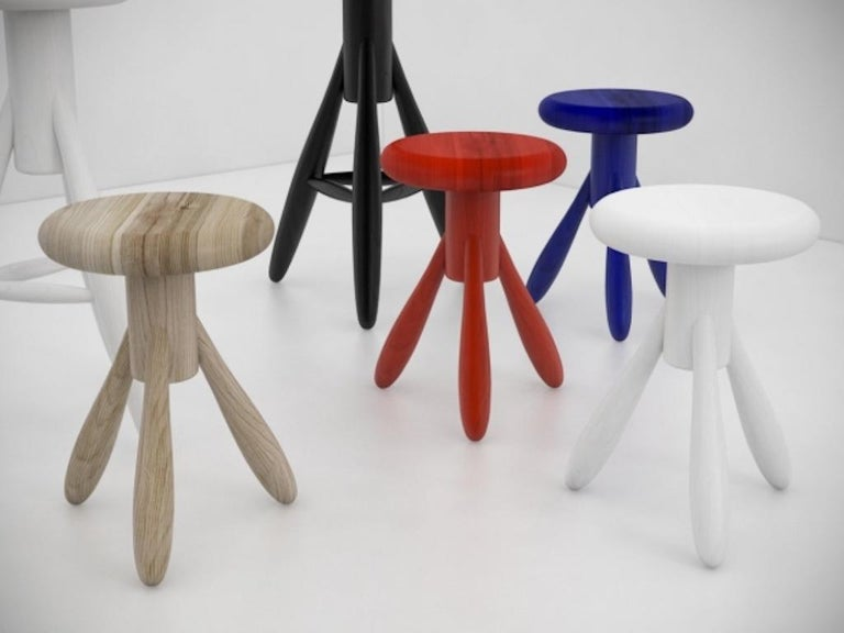 Authentic Baby Rocket Stool in Oak with White Lacquer by Eero Aarino & Artek 2