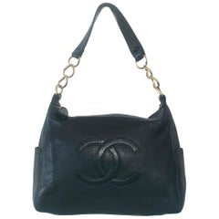 Authentic Black Large Chanel Caviar leather handbag bag