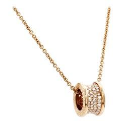 Authentic Bulgari Bvlgari 18 Karat Rose Gold Diamond B Zero 1 Necklace