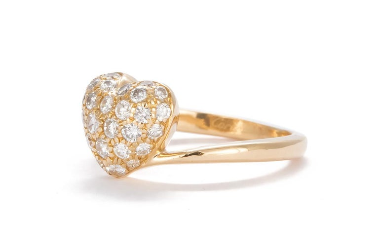 Contemporary Authentic Cartier 18 Karat Yellow Gold Diamond Pave Heart Ring