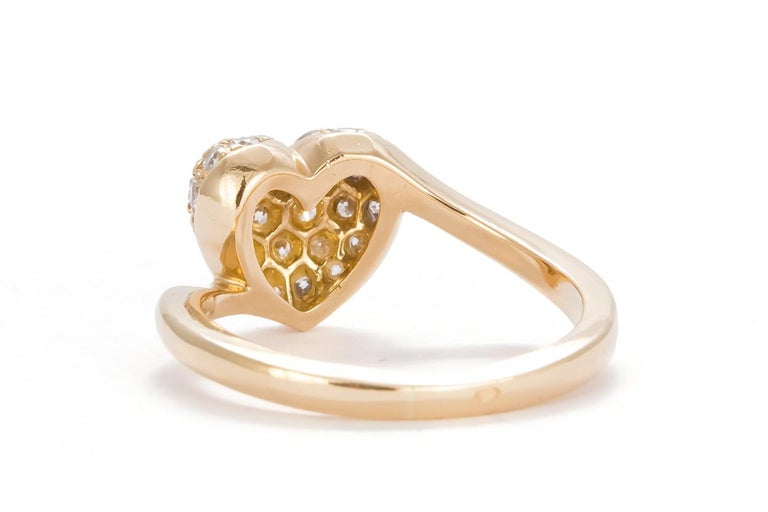 Round Cut Authentic Cartier 18 Karat Yellow Gold Diamond Pave Heart Ring