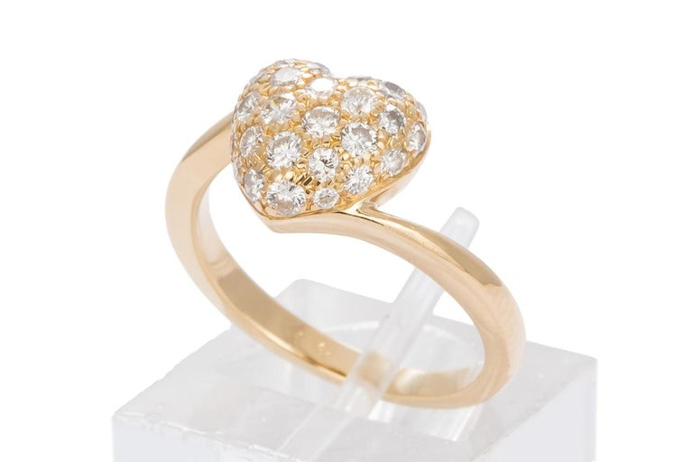 Authentic Cartier 18 Karat Yellow Gold Diamond Pave Heart Ring In Good Condition In Tustin, CA