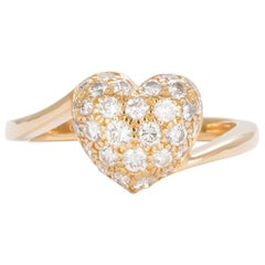 Authentic Cartier 18 Karat Yellow Gold Diamond Pave Heart Ring