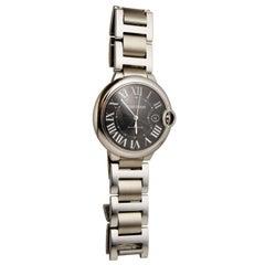 Authentic Cartier Ballon Bleu Stainless Steel Black Dial Watch Ref 3765