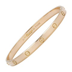 Authentic Cartier Love Bangle Bracelet 18 Karat Yellow Gold Box and Papers