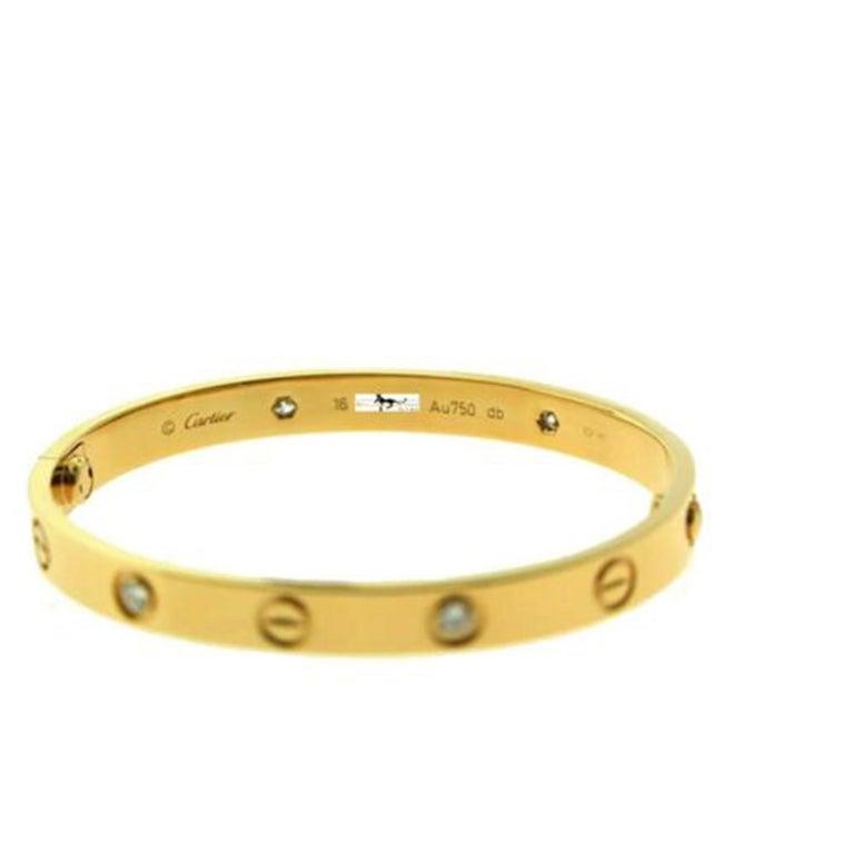 Authentic Cartier Love Bracelet 4 Diamond in 18 Karat Rose Gold 'C-378' In Good Condition For Sale In Miami, FL
