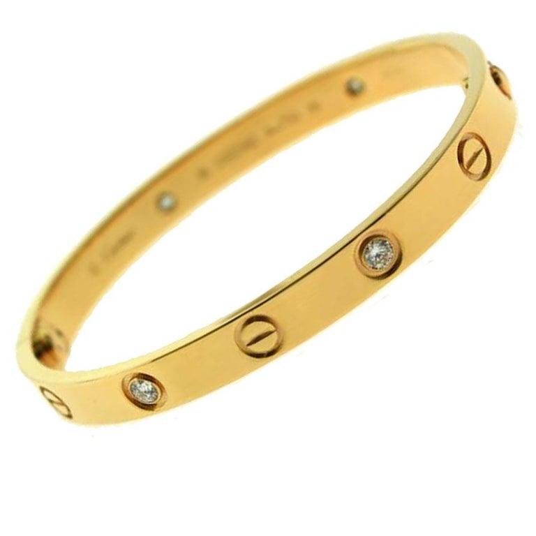 Round Cut Authentic Cartier Love Bracelet 4 Diamond in 18 Karat Rose Gold 'C-378' For Sale