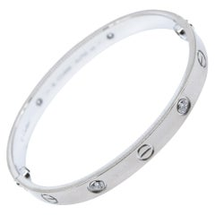 Authentic Cartier Love Bracelet, 4 Diamonds in 18 Karat White Gold 'C-301'