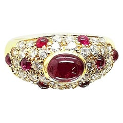 Authentic Cartier Vintage Cabochon Ruby and Diamond Ring