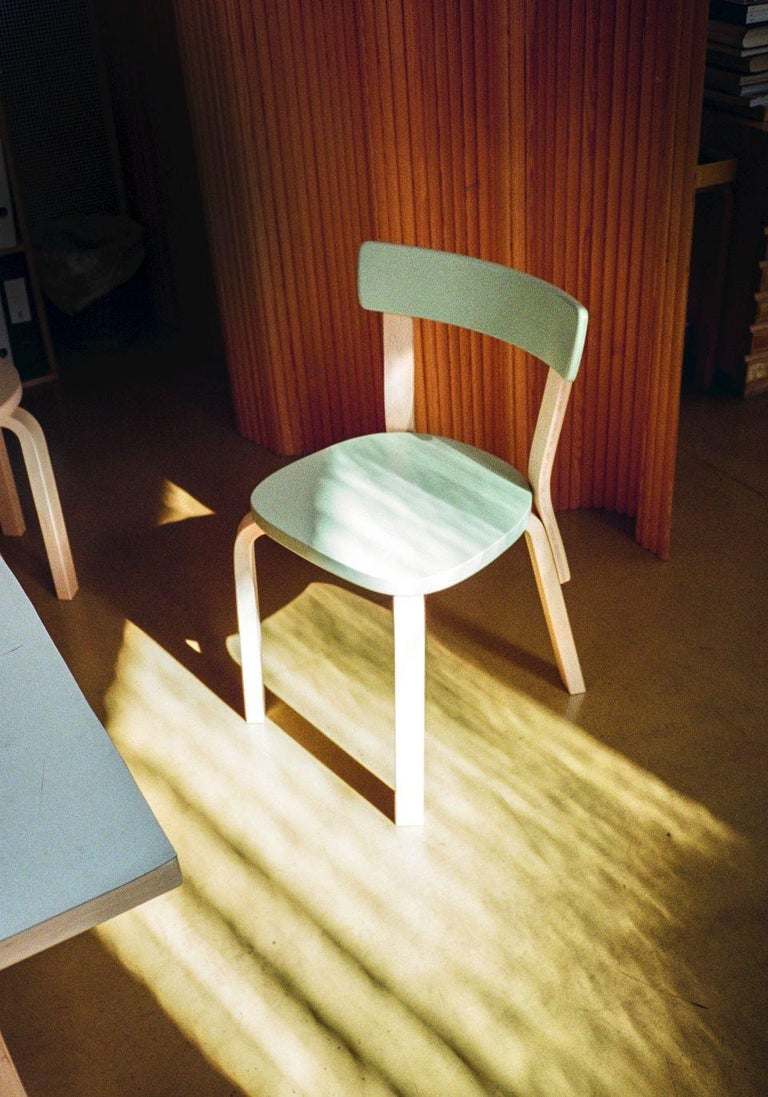 Finnish Authentic Chair 69 in Birch with White Lacquer by Alvar Aalto & Artek For Sale