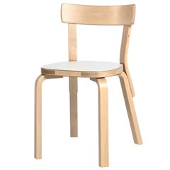 Authentic Chair 69 in Lacquered Birch with Laminate Seat by Alvar Aalto & Artek
