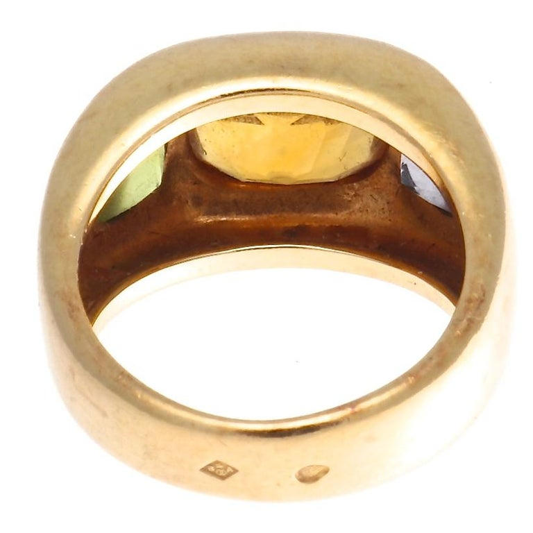 Cushion Cut Authentic Chanel France Citrine Peridot Iolite Gold Ring, circa 2000s For Sale
