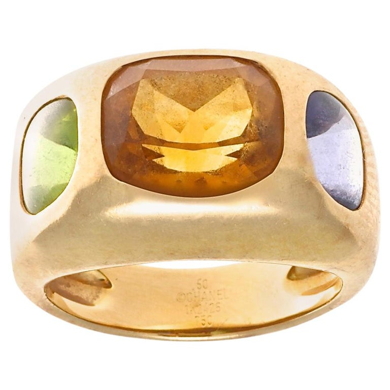 Authentic Chanel France Citrine Peridot Iolite Gold Ring, circa 2000s For Sale