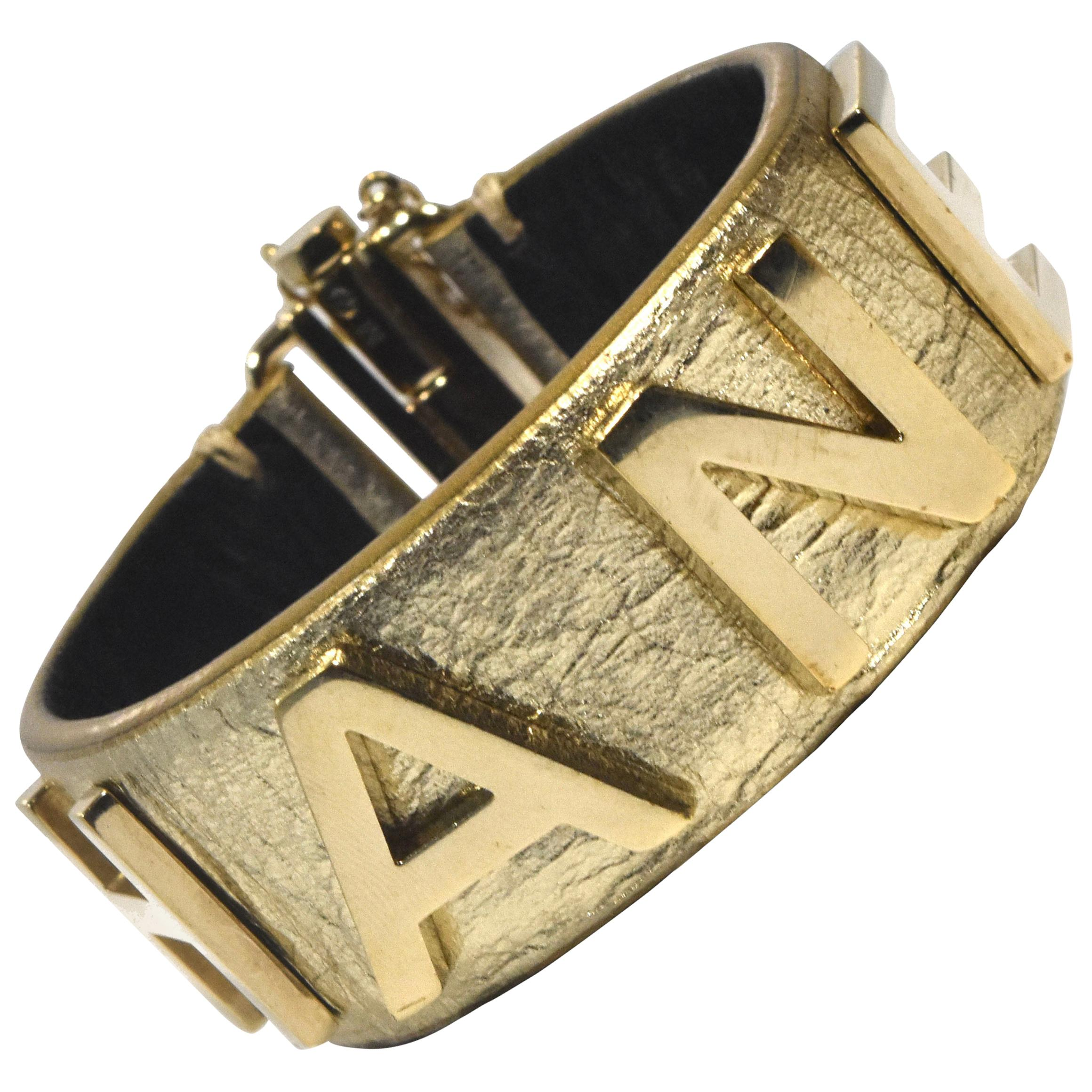 Authentic Chanel Gold Calfskin Leather Logo Cuff Bracelet