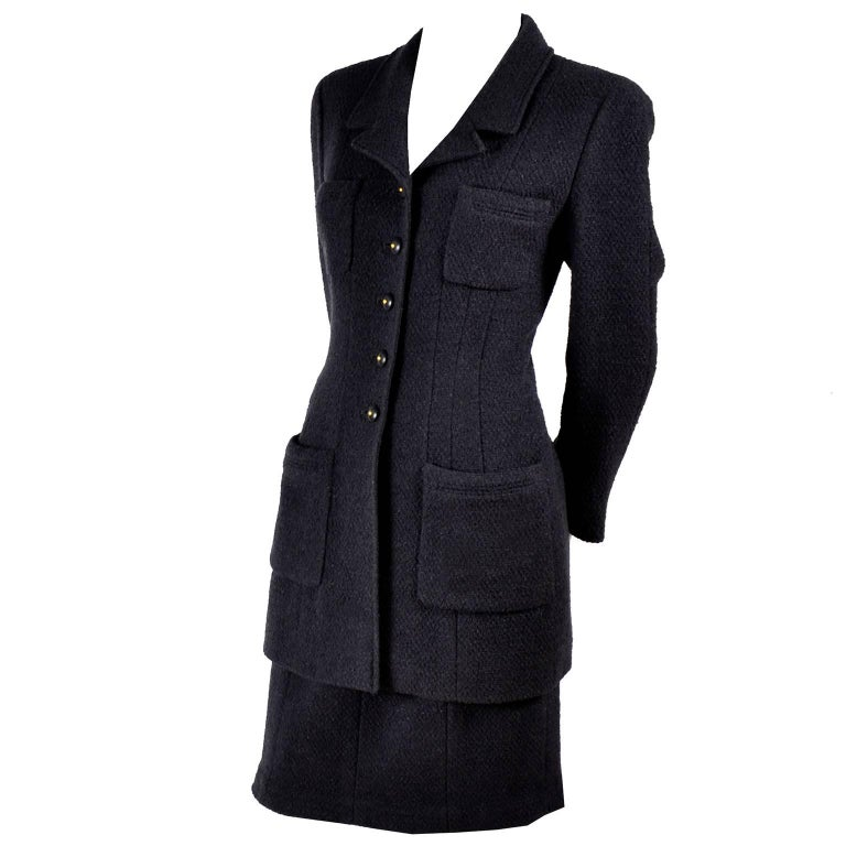 Chanel Jacket and Skirt Suit in Charcoal Gray Tweed with CC Logo Buttons