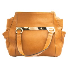 Authentic Chloe Brown Goatskin Handbag with Crossbody Strap