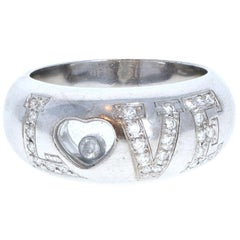 Chopard 18 Karat White Gold Happy Diamond Love Ring 9.8g