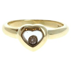 Authentic Chopard 18 Karat Yellow Gold Happy Diamond Heart Ring 4.1g