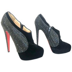 Authentic Christian Louboutin Black Velvet & Strass 140 Ankle Boots