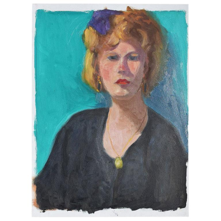Authentic Clair Seglem Tall Portrait Painting of a Woman on Blue
