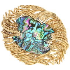David Webb Abalone Shell Yellow Gold Brooch