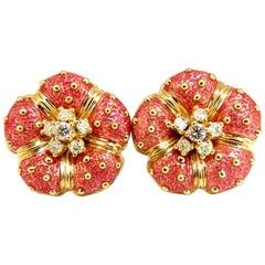 Authentic Designer Hidalgo Pink Enamel Floral Clip Diamond Earrings 18 Karat