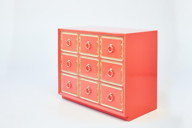 Authentic Dorothy Draper España chest, Shown in Coral Lacquer. The crème de la crème - the most iconic of Hollywood Regency glam - is Dorothy Draper's España bunching chest. Dorothy Draper (1889-1969), America's most famous decorator, produced her