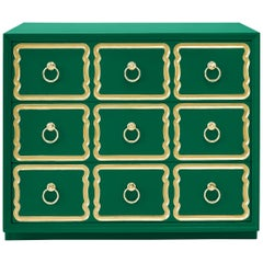 Authentic Dorothy Draper Espana Chest in Emerald Green
