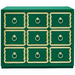 Authentic Dorothy Draper Espana Chest in Emerald Green